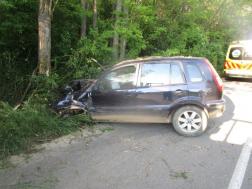 Fának ütközött gépkocsi