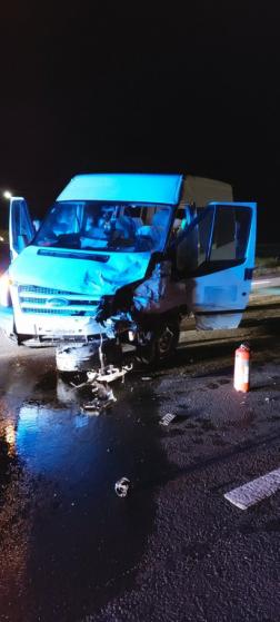 A balesetben érintett kisbusz